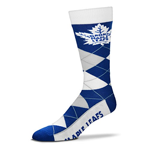 For Bare Feet NHL Argyle Lineup Unisex Crew Dress Socks-One Size Fits Most-Toronto Maple Leafs