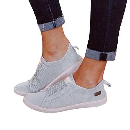 Vowes Women's Versatile Canvas Running Shoes Casual Solid Color Summer Flat Elastic Band Sneakers Fashion Round Toe Lace-up Beach Shoes Gray