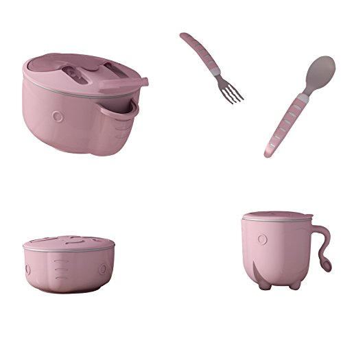 LLZJ Baby Tableware Dishes Sets Bowls Cup Tray Spoon Tip Separate Cutlery Toddler Feeding Fork Training Self-Feeding Children Bowls-0329,Pink,Large