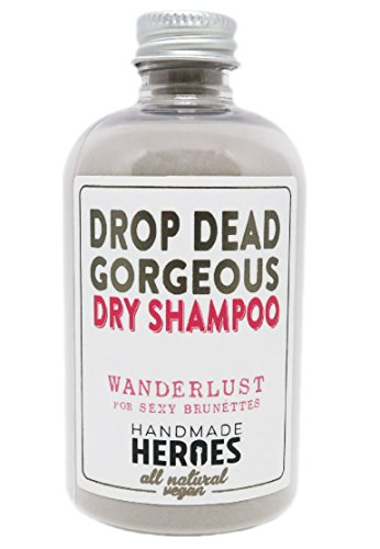 All Natural & Vegan Dry Shampoo – For Brunette, Medium to Dark Color Hair – Volumnizing Drop Dead Gorgeous Hair Powder – Handmade Heroes -