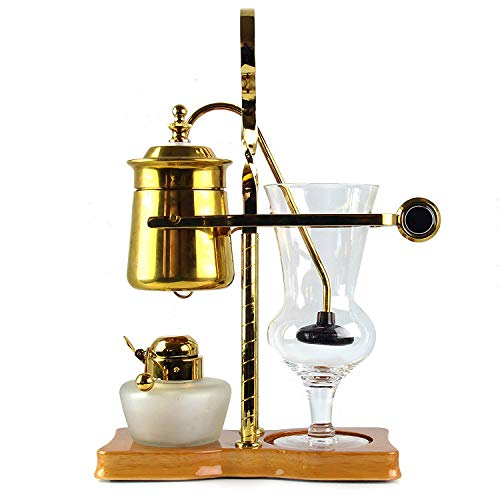 Belgian Coffee Maker- Luxury Belgium Balance Brewer and Coffee Syphon, Makes the Perfect Cup Of Coffee, Royal Brass Siphon Brewer, a U.S. Solid Product (Best Luxury Coffee Maker)