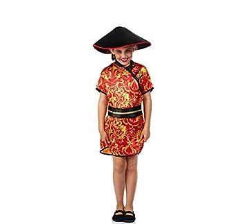 Disfraz de China Roja con Estampado para niña: Amazon.es: Juguetes ...