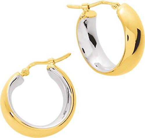 STASYA - Boucles d'oreilles - Créoles - Hauteur 22 mm - Or Bicolore 750/00 - www.diamants.perles.com