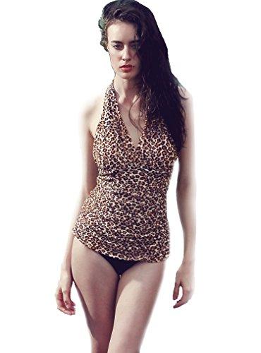 Women's Elegant Coffee Sexy Swimwear One-piece Halter Nec...