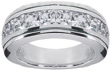 1 50 Ct Tw Men S Princess Cut Diamond Wedding Band Ring In Platinum Amazon Com