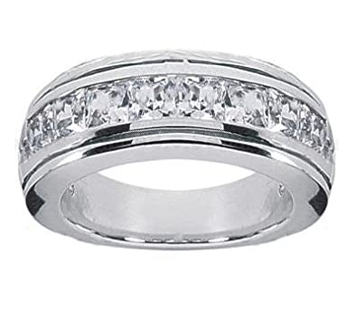 150 ct tw mens princess cut diamond wedding band ring in platinum in size 35 - Princess Cut Diamond Wedding Ring