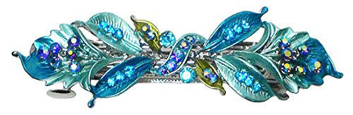 Crystal Flower Barrette YY86800-3aqua blue