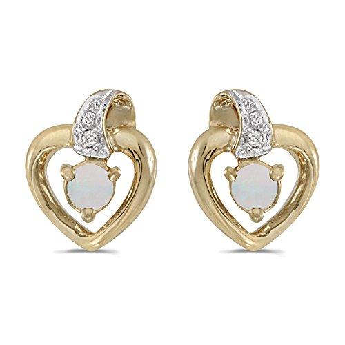 (10k Yellow Gold 3mm Round Opal & Diamond Heart Earrings )