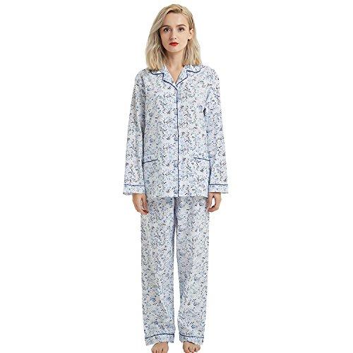 Boyfriend Button Down Pajama Set, Long Sleeve Sleepwear Set with Elastic Pants (XL,Blue Flowers)
