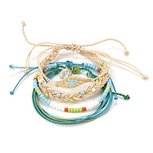 MISSYO 4 PCS Cute Rope Bracelet Set Handmade with Waterproof Wax Coated Braided Rope for Women Girls Boys
