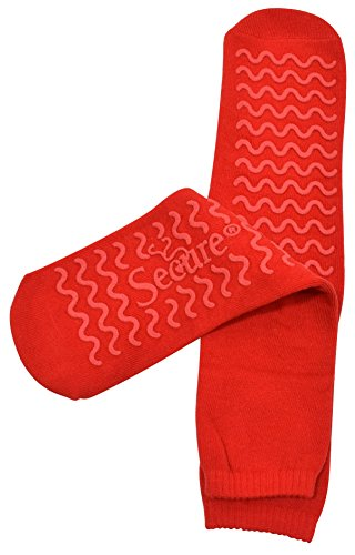 Secure (4 Pairs) Ultra Soft Non Slip Grip Slipper Socks, Red - Fall Injury Prevention Hospital Tread Sock for Safety, Comfort and Warmth by Secure (Image #3)