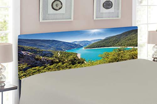 Canyon Headboard - Ambesonne European Headboard, Piva Canyon Reservoir Montenegro Balkans Europe Sunlights, Upholstered Decorative Metal Headboard with Memory Foam, for King Size Bed, Aqua Sky Blue Forest Green