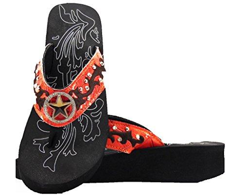 WBA Rhinestone Lone Star Western Flip Flops Sandals Red Orange iVXcMD