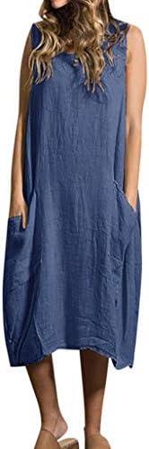 Women Summer Cotton Linen Tank Dress Casual Loose Sleeveless Pockets Tunic Dress Lounge Beach Sundress Plus Size