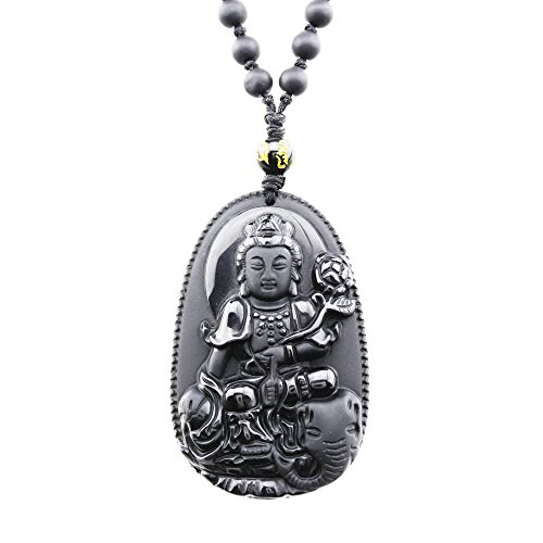 FOY-MALL Natural Obsidian Guardians of Chinese Zodiac Pendant Necklace Samantabhadra XL1270f (Dragon Lord Costume)