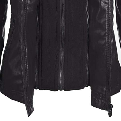 Rambling Womens Hooded Leather Jacket, Slim Overcoat Coat Lapel Removable Zipper Outwear Tops by Rambling (Image #4)