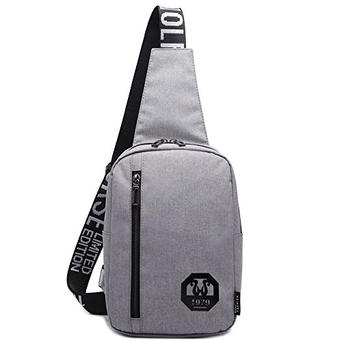 Wewod Bolso Pecho Hombre Deportes Al Aire Libre Mochilas Mochila Impermeable de Del Mensajero Del Hombro Sling Bag de Viaje Deporte Ocio 17 x 26 x 7 cm (L*H*W) Plateado