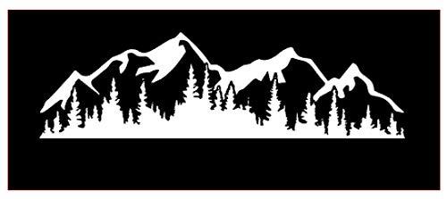 [해외]산과 나무 자동차 범퍼 창 맥북 프로 노트북 iPad 아이폰 (11 \\ / Mountains and Trees Vinyl Sticker Decals for Car Bumper Window MacBook pro Laptop iPad iPhone (11 x 3.2 White)