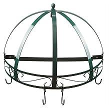 Kinetic 29142 Semi-Circle Wrought-Iron Wall-Mount Pot Rack, Green Enamel