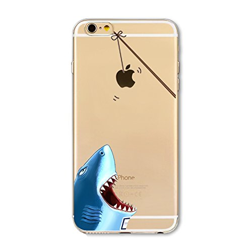 iPhone 8 Plus Case/iPhone 7 Plus Case(5.5inch),Blingy's New Creative Animal Design Transparent Clear Soft TPU Protective Case for iPhone 8 Plus/iPhone 7 Plus (Shark) -