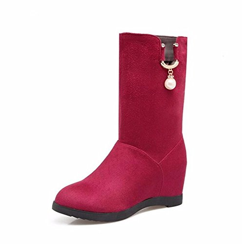 KAFEI Onorevoli Boot in autunno e inverno 34-43 Songpa con a tacco alto tempo libero privo di pelucchi testa rotonda, rosso 41 fatto 2-4 giorni non consente