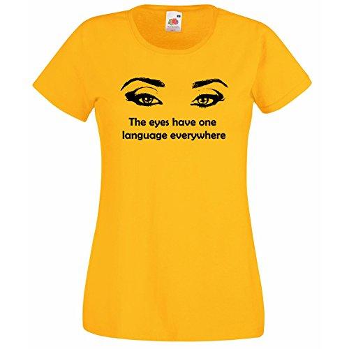 Of Hasard Womenst Décalque Fruit Loom chemise The Premium Femmes Les Gratuit Au shirt T Avec Super Ou Yeux Jaune Unique Cadeau N'importe Citation Silhouette Design Langue Ont 0C40xw