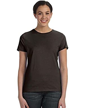 Hanes womens 4.5 oz. 100% Ringspun Cotton nano-T T-Shirt(SL04)-Dark Chocolate-XL