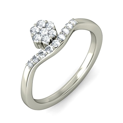 14K White Gold (HallMarked), 0.26 cttw Round-Cut Diamond (IJ | SI ) Diamond Engagement Wedding Ring Size - 10 by PEACOCK JEWELS