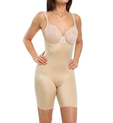 (Flexees Maidenform Vintage Chic Firm Control Bodysuit, 38D, Latte Lift)