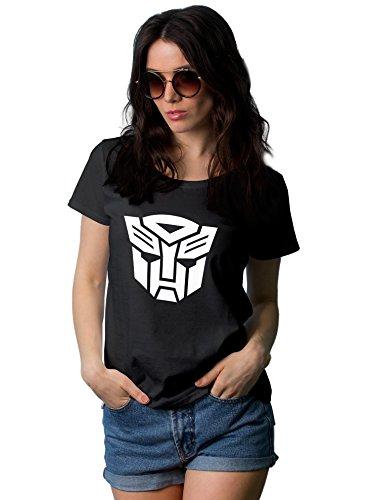 Women Transformers Autobot White Logo t Shirt | Black, M -