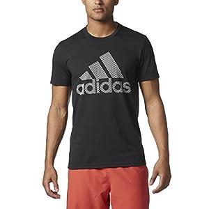 adidas Men's Badge of Sport Pattern Logo Tee, Black/White/Lenticular, Medium