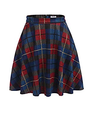 Donkap Women's Plaid Wool Midi Skirt A-Line Pleated Vintage Winter Swing Skirts