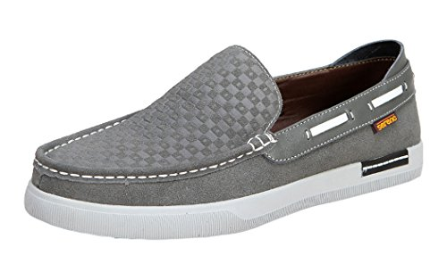 Serene Mens Fashion Moccasin Slip On Suede Flat Loafers(9.5 D(M)US, Grey)