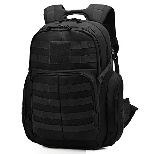 Mardingtop Tactical Backpack Military Backpack Molle Rucksack Assault Pack Bug Out Bag for Hunting Shooting Camping Hiking Traveling School (Black-2)