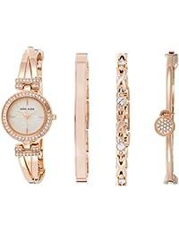 Women's AK/2238RGST Swarovski Crystal-Accented Rose Gold-Tone Bangle Watch and Bracelet Set