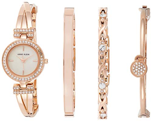 Anne Klein Women's AK/2238RGST Swarovski Crystal-Accented Rose Gold-Tone Bangle Watch and Bracelet Set from Anne Klein