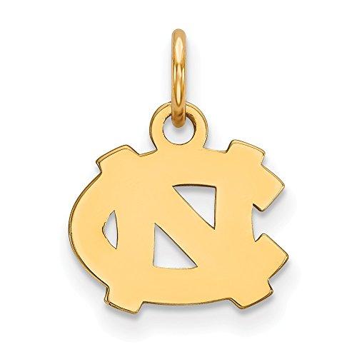 10k Yellow Gold North Carolina Tar Heels School Letters Logo Disc Pendant XS - (11 mm x 12 mm)