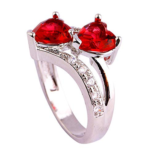 XBKPLO Rings for Women's Lover Heart Rainbow & White Topaz Gemstone Silver Jewelry Accessories Gift (Red, 6) by XBKPLO (Image #2)