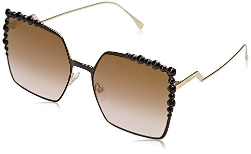 Fendi Women's Square Sunglasses, Black/Brown, One - Women Fendi Glasses