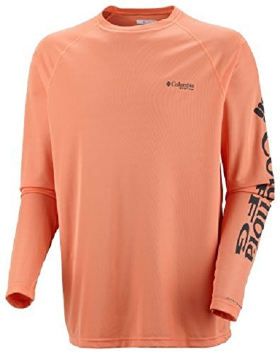 Columbia Mens Terminal Tackle Long Sleeve Polo, Large, Bright Peach/Grill Logo