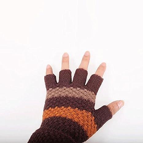 Color : 1 doubleBrown, Size : M Fenfen Guantes Guantes de Dedos de Hombres Guantes de Dedos Gruesos de Hombres de oto/ño e Invierno se refiere a Calcetines de Mano de Punto Calientes
