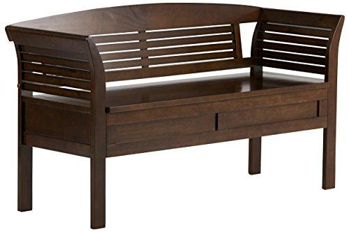Simpli Home 3AXCARLBEN-MB Arlington Solid Wood 49 inch wide Contemporary Entryway Storage Bench in Medium Rustic Brown