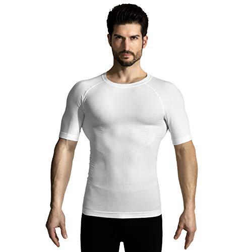 +MD Men's Short Sleeve Compression T Shirt - Workout Baselayer Shapewear Crew Neck XLarge White ()