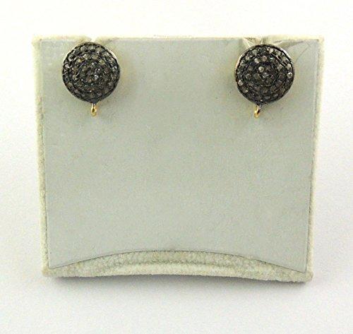 1 Pair Pave Diamond Round Shape Stud Earring 925 Sterling Vermeil Pair with Rings - White Topaz Earrings - Vermeil Topaz Ring