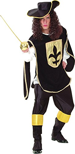 Adult Men's Medieval Knight Fancy Dress Party Musketeer Complete Costume Black (Musketeers Fancy Dress)