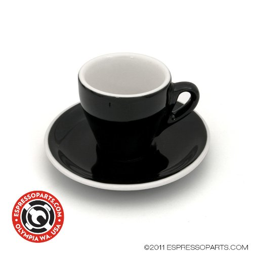 Demitasse Cup & Saucer Black and White Tulip Shape - Set of 6 ()