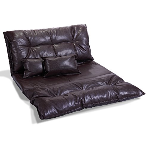 Cheap LAZYMOON Brown PU Leather Foldable Floor Chair Video Gaming Lounge Sofa Bed Lazy Couch with 2 Pillow