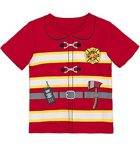 COSLAND Toddler Baby Boys' Crewneck Halloween Costume Fireman T-Shirt (2T, Fireman)