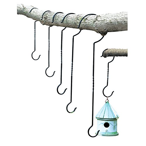 Collections Etc Outdoor Plant Hanging Hooks - Set of 6 - for Baskets, Bird Feeders, Wind Chimes, Garden Ornaments - Hanging Basket Collection