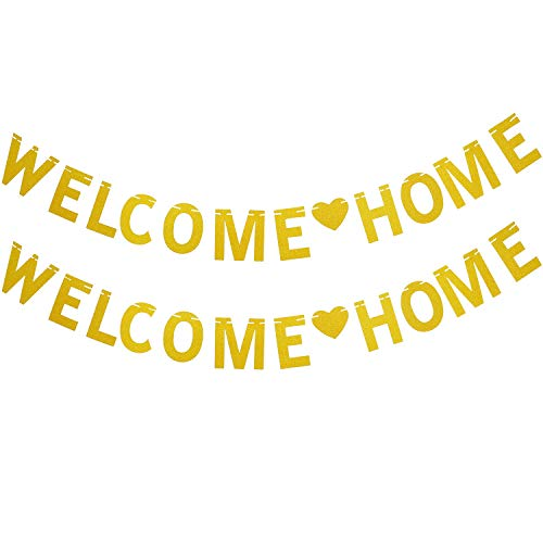 SATINIOR 2 Pack Welcome Home Banner Gold Glitter